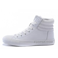 Discount Full White CONVERSE Embroidery Leather Padded Collar Winter CTAS Shoes
