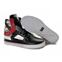 New Arrival Supra Skytop II Black Red Silver Men's Shoes