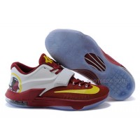 Nike KD 7 Basketball Shoes Burgundy White Yellow Discount Online