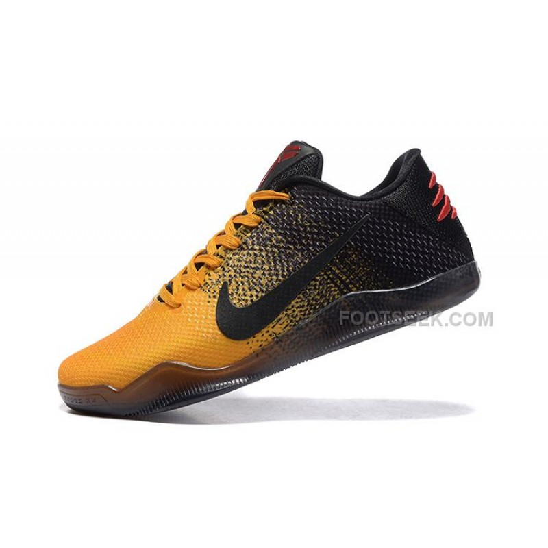 men nike kobe 11 low yelow black and red size us 7 to us 12 for