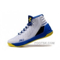 Under Armour Curry Three White Royal Blue Yellow Cheap New Mens Shoes For Sale 32pMB