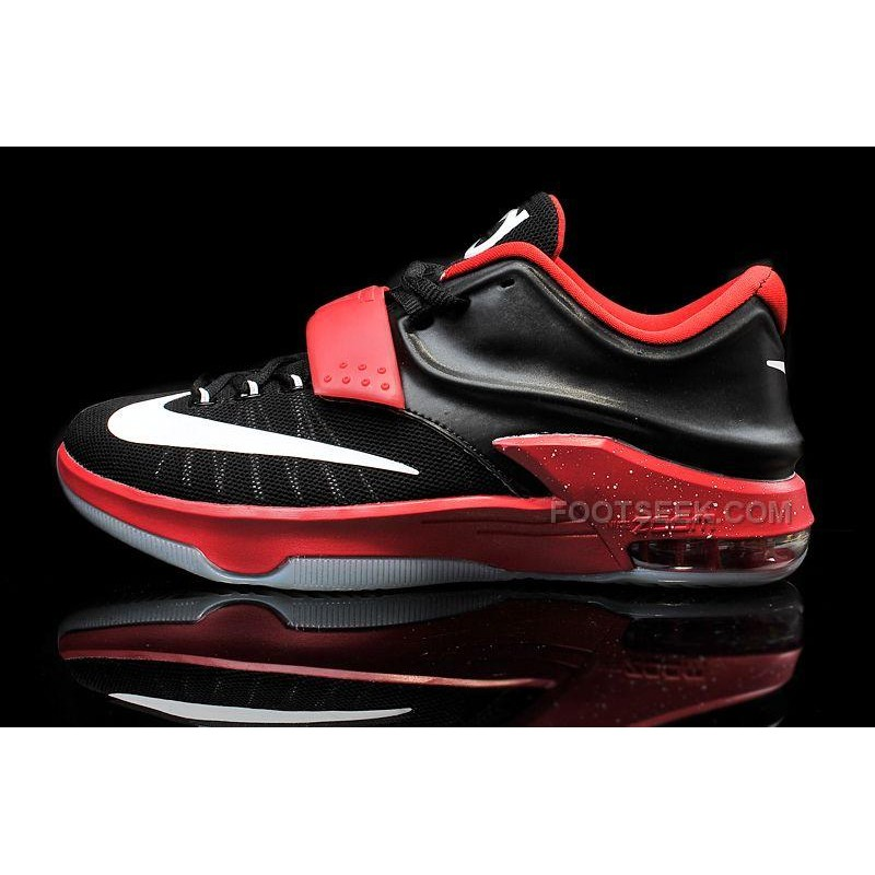 uk availability bb375 0e1e2 Cheap Nike KD 7 Black Bright Red White Mens Basketball Shoes Discount Online