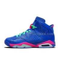 2014 Air JD 6 Retro GS Game Royal/Vivid Pink-Light Lucid Green For Sale New Arrival