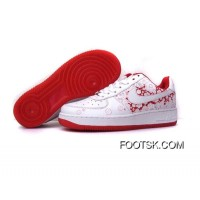 Women's Nike Air Force 1 Low Shoes White/Red Free Shipping