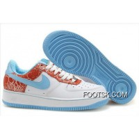 Women's Nike Air Force 1 Low Shoes White/Red/Sky Blue Authentic