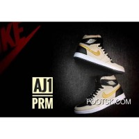 "Air Jordan 1 High ""PRM"" Pearl White/Black/Metallic Gold Super Deals"