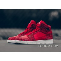 "2016 Air Jordan 1 High ""Red Elephant Print"" Gym Red/Black-White-Team Red Discount"