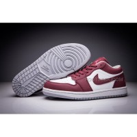 Air Jordan 1 Low Wine Red White Men And Women Size Shoes New Arrivals