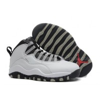 Air Jordan 10 (X) Retro White/Black-Light Steel Grey-Varsity Red For Sale