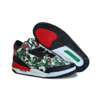 "New Air Jordan 3 Retro ""Atmos"" Custom Camo Printed/Black Red"