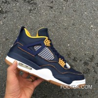 "2016 ""Dunk From Above"" Air Jordan 4 Midnight Navy/Varsity Maize-White-Metallic Gold Star Best SGTMA"