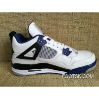 """Motorsport"" Air Jordan 4 White/Varsity Blue-Black Super Deals KTHkM8"