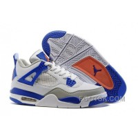 "2016 Air Jordan 4 ""Knicks"" White/Hyper Orange-Deep Royal Blue-Wolf Grey Discount"