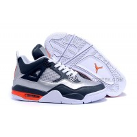 Men Nike Sneakers Air Jordan 4 Retro Silver/Midnight Blue-White