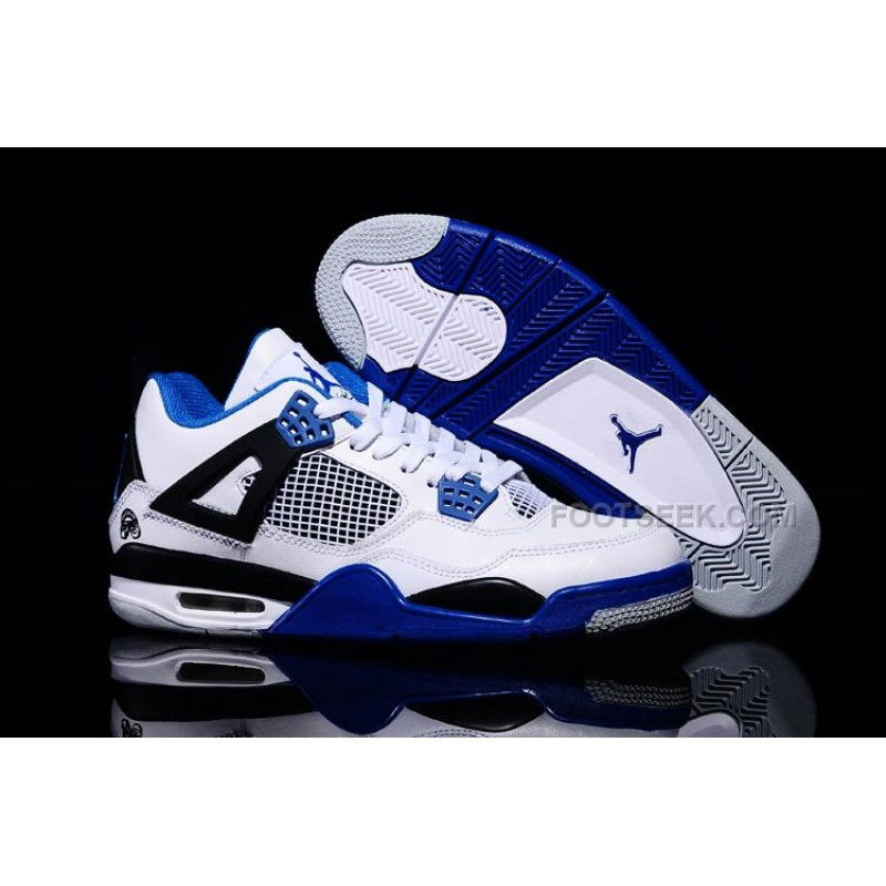 "146086824f3167 ... Military Blue  Wholesale Air Jordan 4 Retro ""Motorsport"" White Blue  Black .. ..."