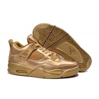 "Air Jordan 4 Retro Custom ""Liquid Metal"" All Gold Cheap Sale Online"