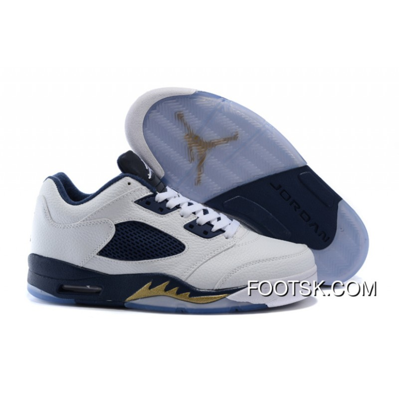 Authentic 2016 Air Jordan 5 Low Dunk From Above WhiteMetallic Gold StarMidnight Navy