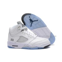 Cheap Price Air Jordan 5 White/Metallic Silver Basketball Shoes