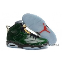 "Air Jordans 6 Retro ""Champagne Bottle"" Pro Green/Metallic Gold-Chilling Red-Black Best"