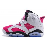 Air JD 6 Retro GS White-Black/Bright Pink On Sale For Cheap New Arrival