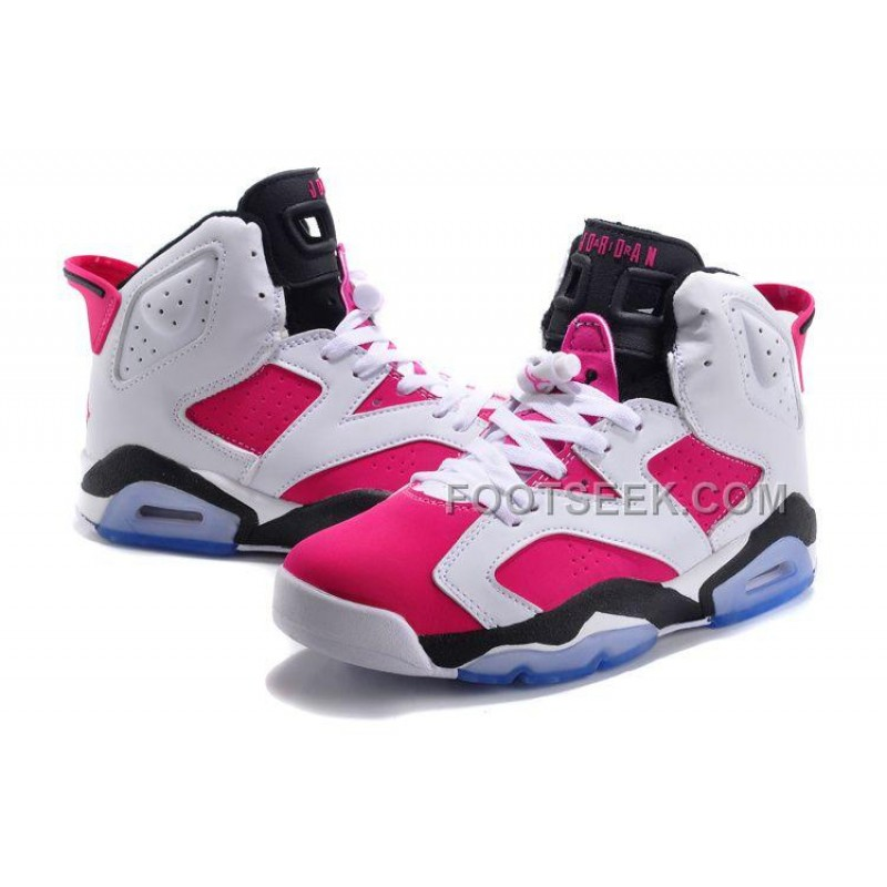 ... Air JD 6 Retro GS White-Black/Bright Pink On Sale For Cheap New ...