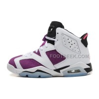Air JD 6 (VI) GS Retro White/Vivid Pink-Bright Grape-Black For Sale New Arrival