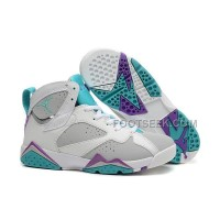 Air JD 7 Retro Girls Neutral Grey/Mineral Blue-Bright Violet-White New Arrival