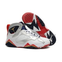 Air JD 7 Retro GS Olympic White/Metallic Gold-Midnight Navy/True Red New Arrival