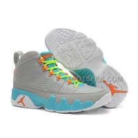 Cheap Girls Air JD 9 Retro GS Wolf Grey/Neon Orange-Mint Candy For Sale