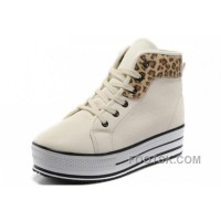 Top White CONVERSE All Star Platform Leather Leopard