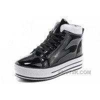 Lastest New All Star Platform CONVERSE Shiny Black Leather Shoes