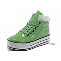 Green CONVERSE Platform All Star Shiny Leather Shoes Xmas Deals