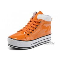 Orange All Star Platform CONVERSE Shiny Leather Shoes Hot