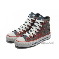 Red Grey CONVERSE American Flag Metal All Star The End Of The World Canvas Shoes Lastest