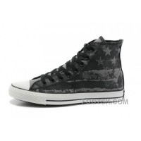 Lastest Unisex CONVERSE American Flag Black Grey Graffiti Print Chuck Taylor All Star Canvas Sneakers