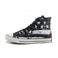 For Sale Cool CONVERSE American Flag Black Red White Graffiti Print Chuck Taylor All Star Canvas Sneakers