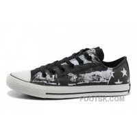 For Sale CONVERSE American Flag Graffiti Print Black White Chuck Taylor All Star Sneakers