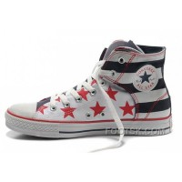 Easy Slip CONVERSE American Flag Chuck Taylor Black Red Bule Canvas Shoes Discount
