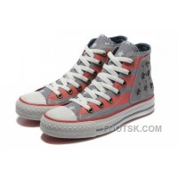 Grey Red American Flag CONVERSE Metal All Star The End Of The World Canvas Shoes Top