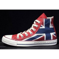 Free Shipping British Flag CONVERSE Rock Union Jack Blue Red Chuck Taylor All Star Canvas Sneakers