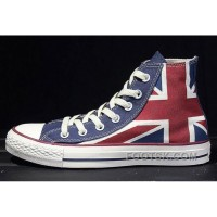 Top CONVERSE British Flag Rock Union Jack Red Blue Chuck Taylor All Star Canvas Sneakers