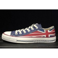 Red Blue CONVERSE Rock Union Jack British Flag Chuck Taylor All Star Canvas Sneakers Authentic