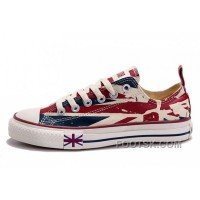 Hot Blue CONVERSE British Flag Print All Star Beige Red Canvas London Shoes