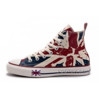 Online Blue CONVERSE British Flag Print All Star Beige Red Canvas London Shoes