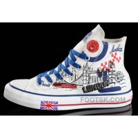 CONVERSE UK Flag London Building Printed White Canvas Transparent Soles Shoes Lastest