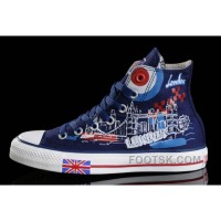 Black Friday Deals Blue CONVERSE British Flag London Building Printed Canvas Transparent Soles Shoes