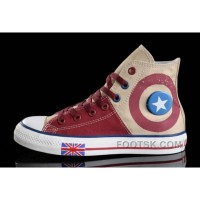Harper Beckham CONVERSE UK Flag Wine Red Beige Tonal Stitching Canvas Lastest