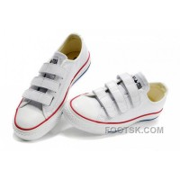 White CONVERSE All Star Chuck Taylor 3 Strap Velcro Leather Sneaker Xmas Deals