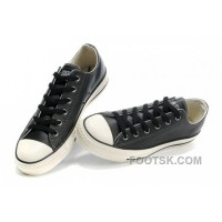 Monochrome Black Leather CONVERSE All Star Overseas Edition Sneakers Free Shipping