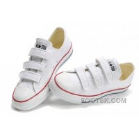 Hot Classic CONVERSE 3 Strap All Star Velcro White Canvas Shoes